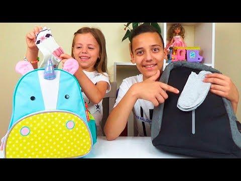ЧЕЛЛЕНДЖ Что в моём рюкзаке НОСКИ Что мы КУШАЕМ What's in my Bag - Видео онлайн