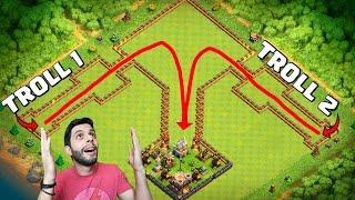 LAYOUT TROLL DESAFIO COM DOIS TIPOS DE TROPAS! - Clash of Clans