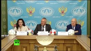 Захарова на пресс конференции оргкомитета Неофициального ЧМ по футболу среди команд посольств
