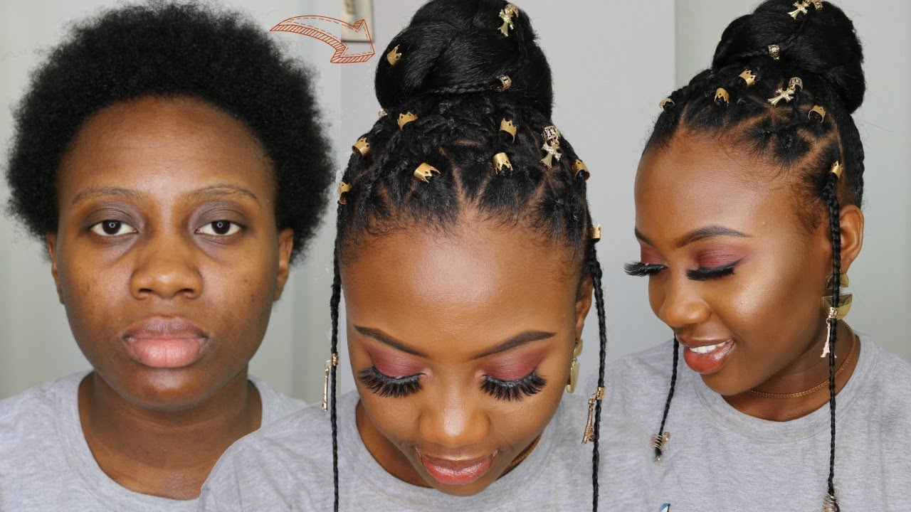 4c Natural Hair Spicy High Bun Protective Criss Cross