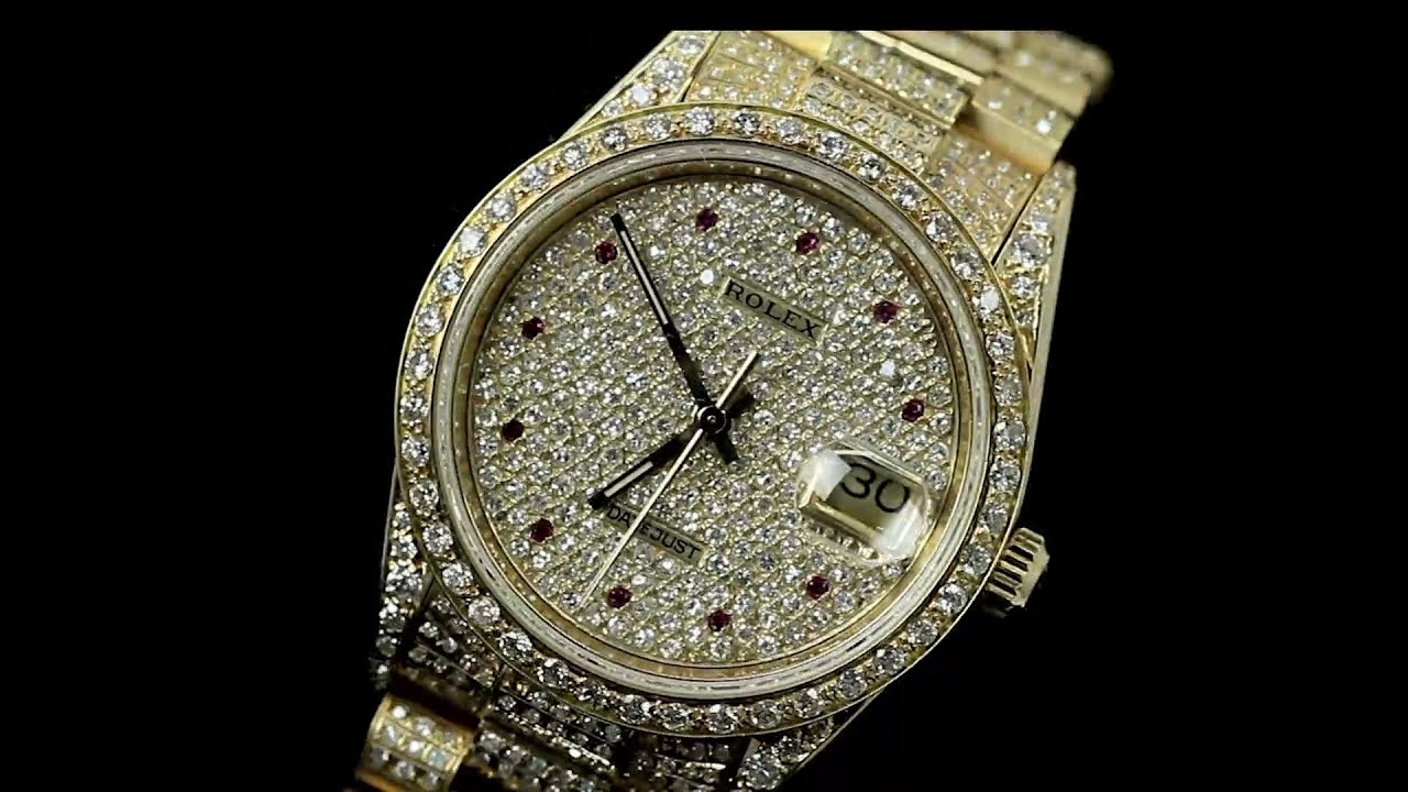 Rolex Datejust 18kt Yellow Gold Iced Out Diamond Paved