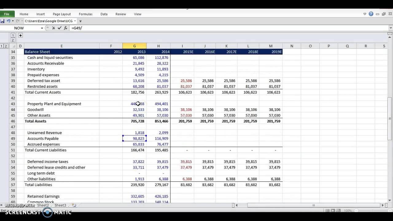 financial modeling - working capital schedule