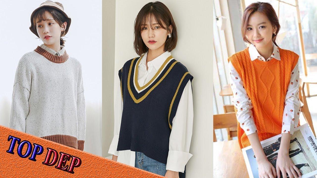Cách phối đồ nữ đẹp áo sơ mi với áo len đơn giản nhất