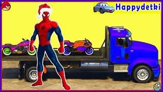 Человек паук катается на цветных мотоциклах и машинках, мультики