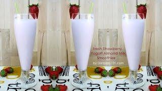 Fresh Strawberry Yogurt Almond Milk Smoothie | Dietplan-101.com