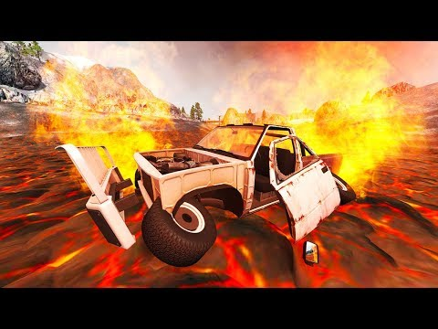 CRASHING INTO A LAKE OF LAVA! - BeamNG Drive RockHeap Volcano Rally Track Crashes!