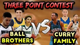 CURRY FAMILY VS BALL BROTHERS THREE POINT CONTEST! NBA 2K17