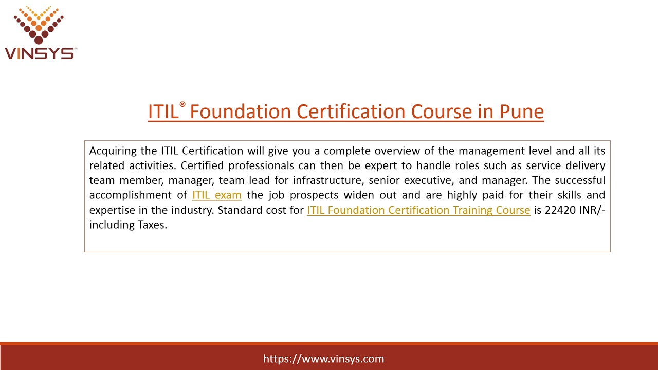 Itil Foundation Certification Training Course In Pune Itil Exam