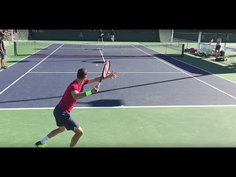 Grigor Dimitrov / Ryan Harrison (60 fps) 2017 Indian Wells Practice 3/6/17 BNP Paribas Open