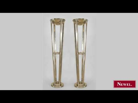 Antique Pair of French Art Deco style chrome floor lamps ...