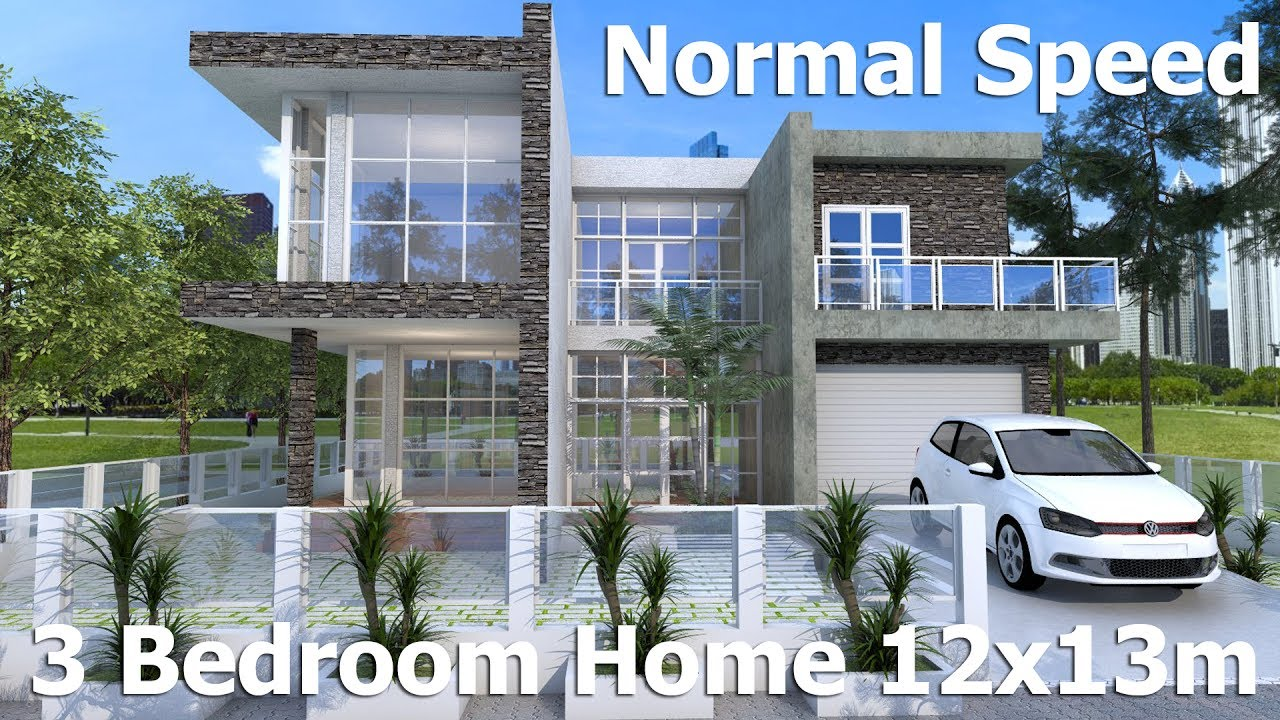 SketchUp Modern Home Design 12x13m Normal Speed