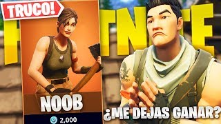 I PASS BY NOOB *PLAYING WITHOUT SKIN* IN FORTNITE AND WIN THE PARTY! - TROLLEO at FORTNITE