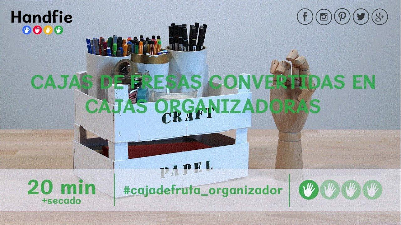 Cajas de fresas convertidas en cajas organizadoras youtube - Manualidades con cajas de madera ...