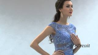 A Line Capped Sleeves Blue Evening Dress Formal Gown