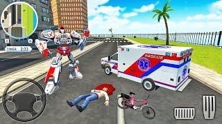 구급차 로봇 자동차 변형-응급 구조 시뮬레이터-Android 게임 플레이