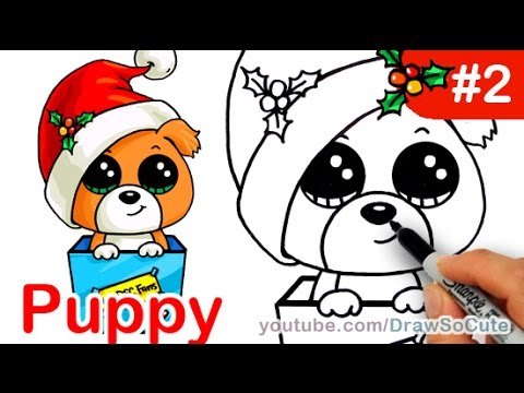 How to draw Puppy Christmas Present step by step Easy Holiday