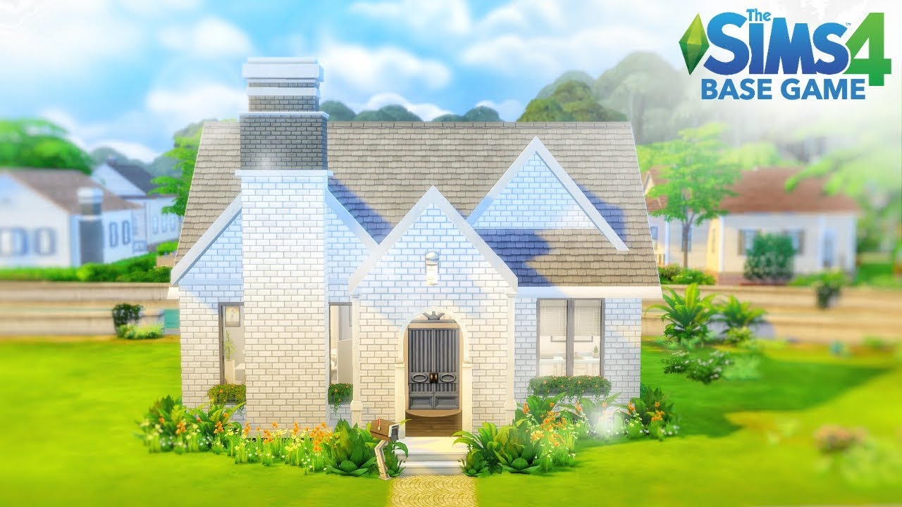 White Brick House Sims 4 Speed Build Base Game Youtube