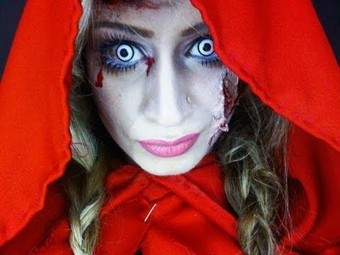 Little Red Riding Hood Zombie Halloween Makeup Tutorial - YouTube