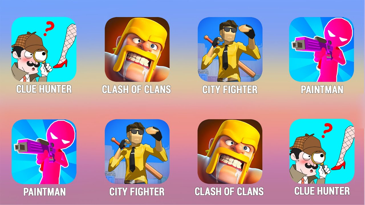 CLUE HUNTER, Clash of Clans, City Fighter, Paintman Walkthrough (iOs, Android) | Power of Gameplay