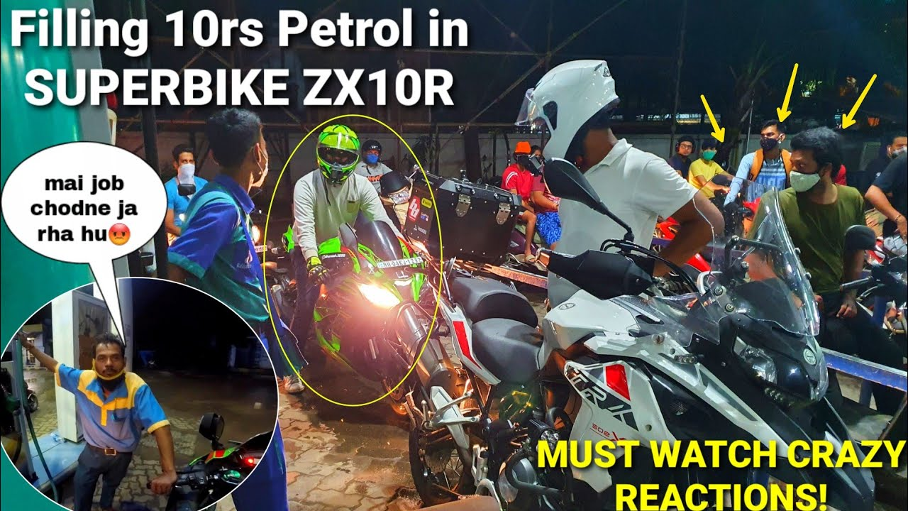 Biker Filling 10rs Petrol In New ZX10R|Public Reactions for Superbike!!|Must watch|Z900 Rider