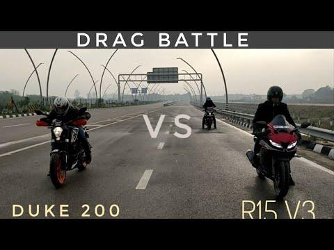 Yamaha R15 V3 Vs Duke 200 | Highway Race | Top End