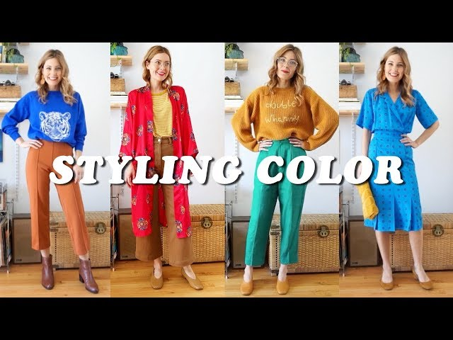 STYLING WITH COLOR | Outfit Lookbook VINTAGE & THRIFTED | Tiny Acorn