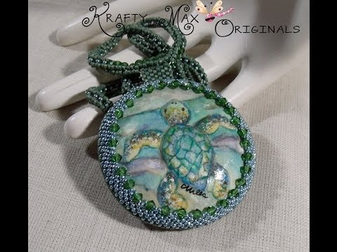 Sea Turtle Beadwoven Necklace w/ WingsNScales Handpainted Cabochon a Krafty Max Original Design