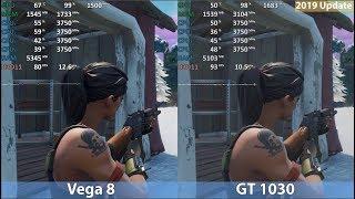 GeForce GT 1030 vs. Ryzen 3 2200G Vega 8 in 2019 in 10 Games. Benchmark Comparison Test