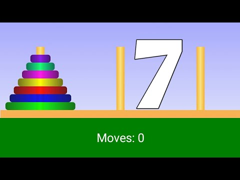 Tower of Hanoi: Seven Rings(Disks) Solution 7.