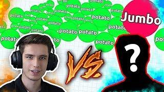 JUMBO VS YOUTUBER IN AGARIO ( Agar.io Solo Challenge )