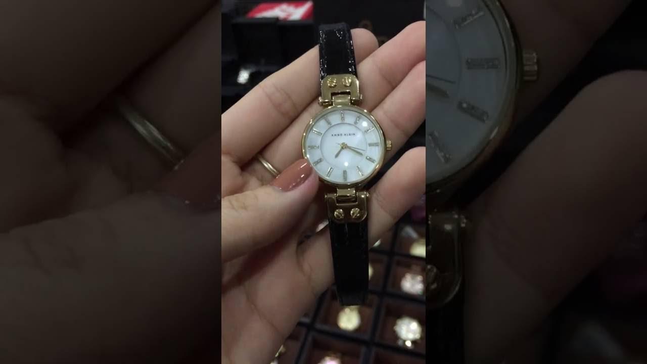 d037b8062 Anne Klein Women's AK/1950MPBK Gold-Tone and Black Leather Strap Watch