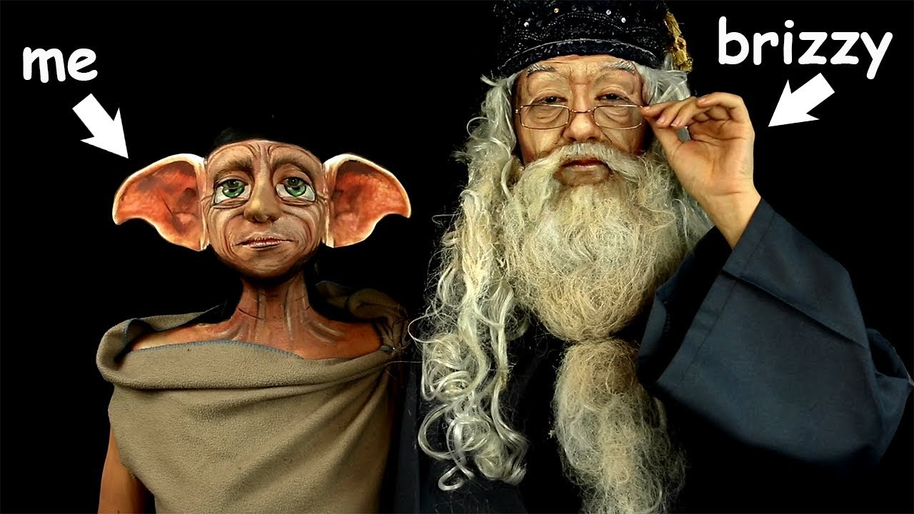 Harry Potter IN REAL LIFE  Dobby and Dumbledore ft. Brizzy Voices (Makeup  by Jody Steel) 952f4d749ac