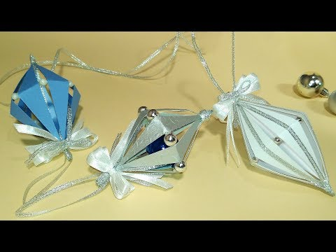 Super EASY Christmas tree ornaments from paper. Ideas for Christmas decorations #2