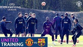 Manchester United train ahead of Barcelona visit | UEFA Champions League | Pogba, Rashford, Martial