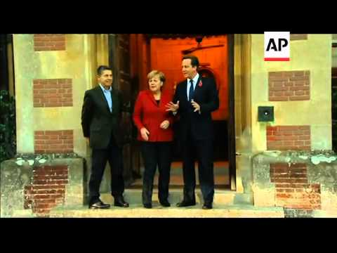 German Chancellor Merkel vists the UK meets PM Cameron
