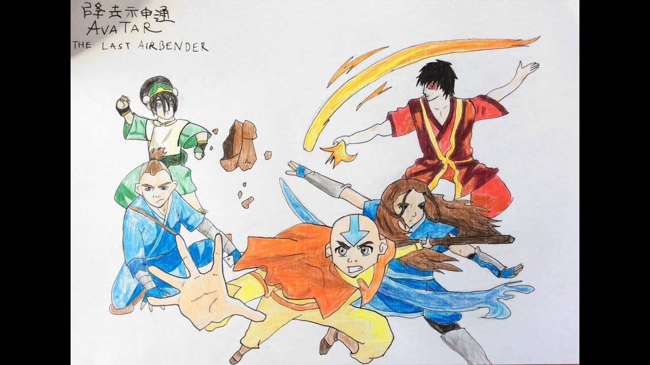 How to draw five characters from avatar tla step by step