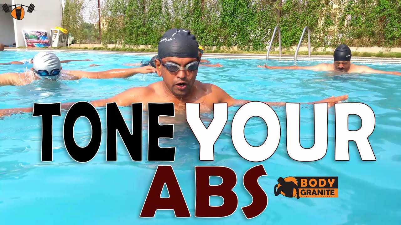 Tone Your Abs In Pool Pool Workout For Abs Exercises For A Flat Stomach Fitness Abs How To