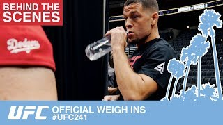 UFC 241 OFFICIAL WEIGH INS BEHIND THE SCENES  & CANDID INTERVIEWS