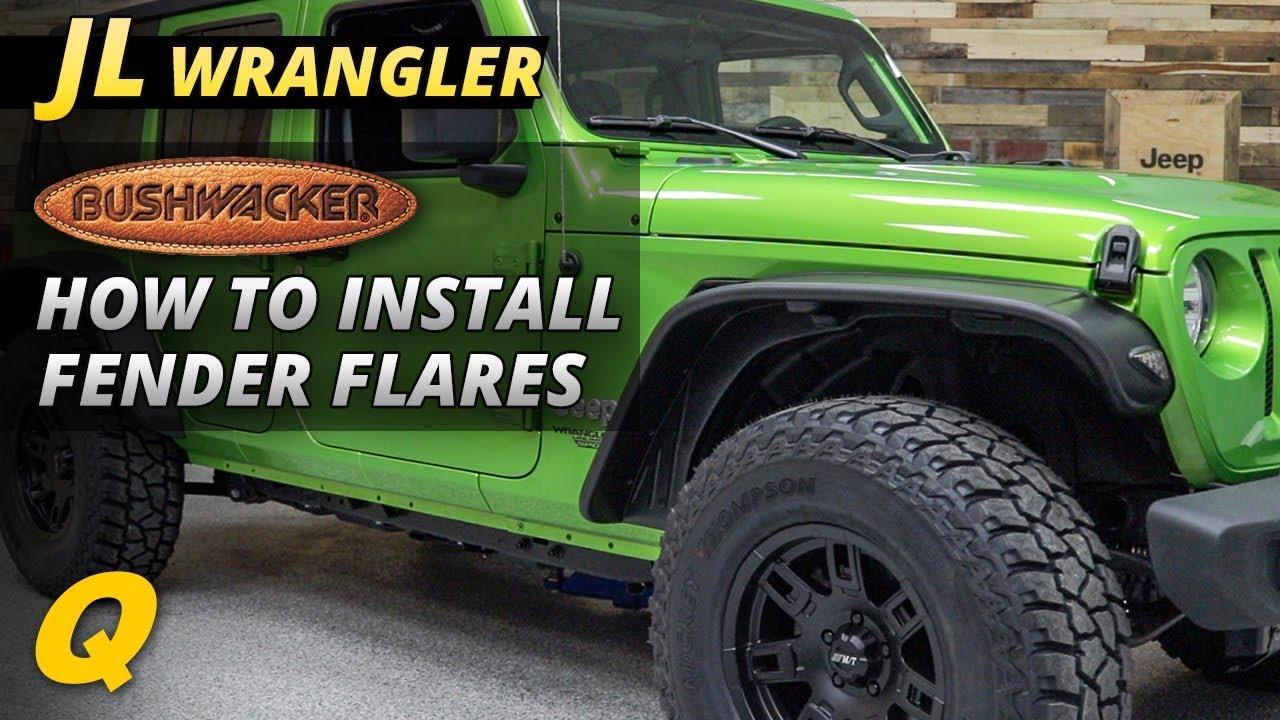Bushwacker 10923-07 Flat Style Fender Flares for 18-19 Jeep Wrangler JL 2  Door & 4 Door Unlimited