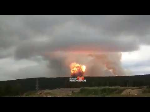 Гриб от взрыва боеприпасов в военной части под Ачинском