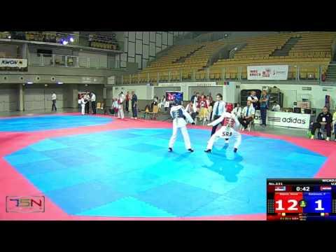 231-Zahirovic, Filip  TAEKWONDO KLUB OSIJEK (CRO) vs Stanic, Novak  SERBIA NATIONAL TEAM (SRB) 2-15