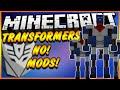 ★TRANSFORMERS IN MINECRAFT NO MODS! Minecraft Vanilla: Transformers, Robots + Hidden Car★