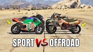 GTA 5 ONLINE - SPORT BIKES VS OFFROAD BIKES (WHICH IS FASTEST?)