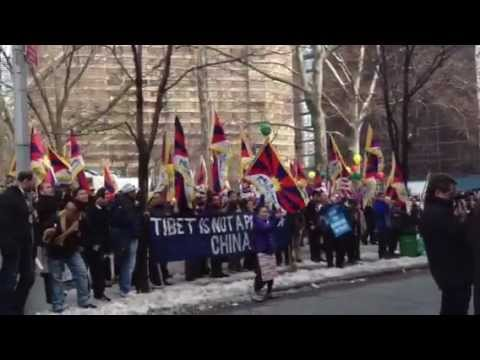 Tibetans Chained to China's Mission in NYC on Tibetan Independence Day