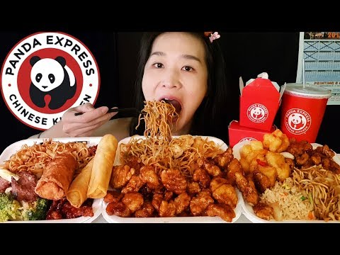 HUGE PANDA EXPRESS FEAST!! Orange Chicken, Chow Mein, Beef - Chinese Food Mukbang Asmr Eating Sounds