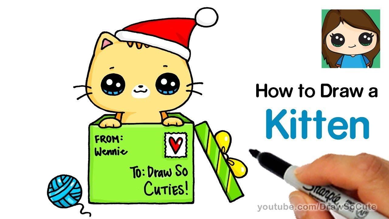 How to Draw a Kitten for Christmas Easy - YouTube