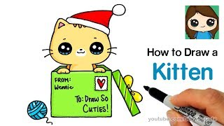 How to Draw a Kitten for Christmas Easy