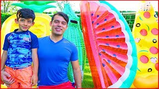 Fruits Challenge on a water slide for Kids