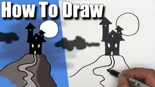 How To Draw a Haunted House! - EASY - Step By Step