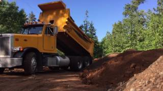 1988 Peterbilt Dump Truck Dumping Dirt